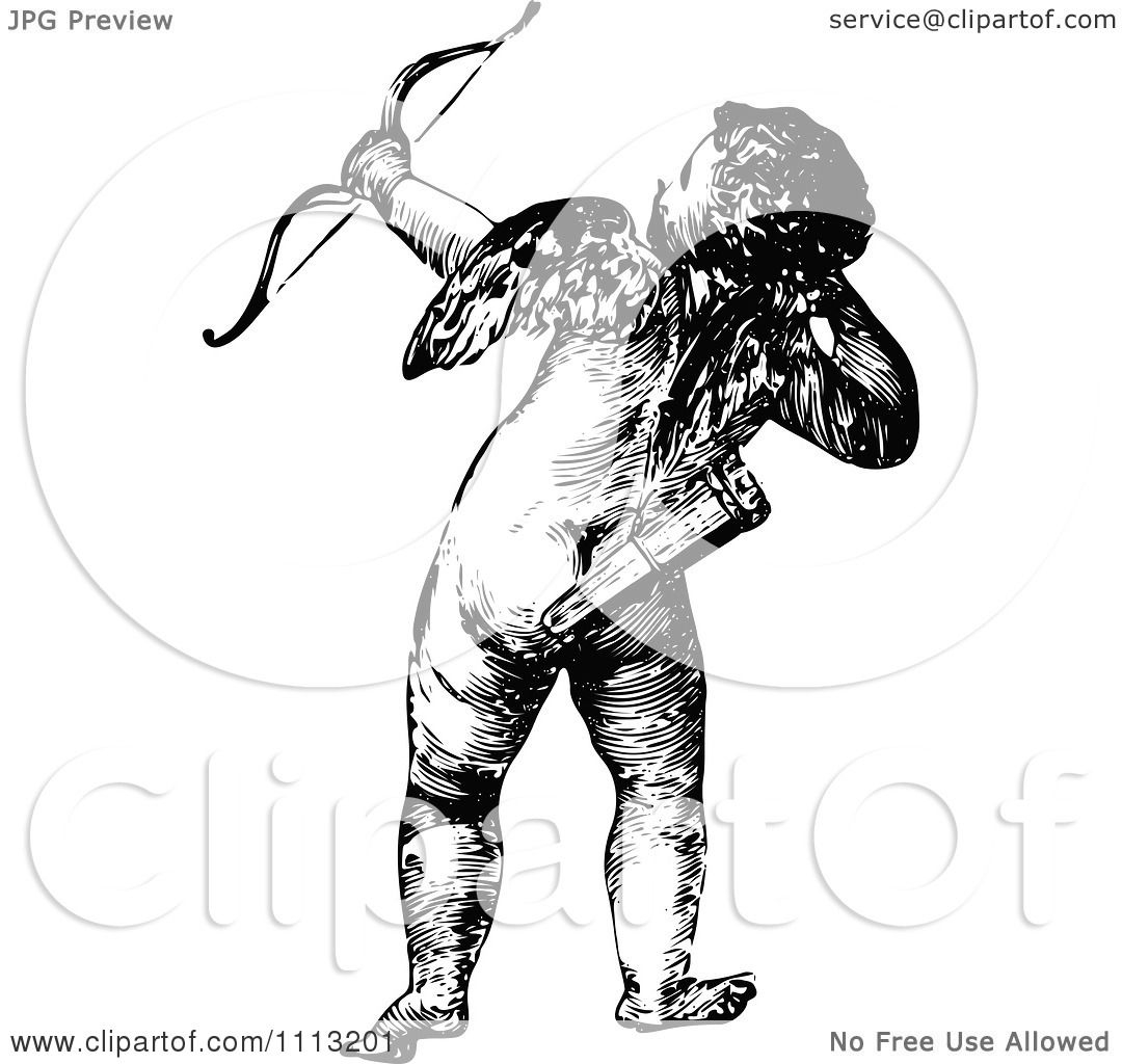 1080x1024 Clipart Vintage Black And White Cupid Shooting An Arrow