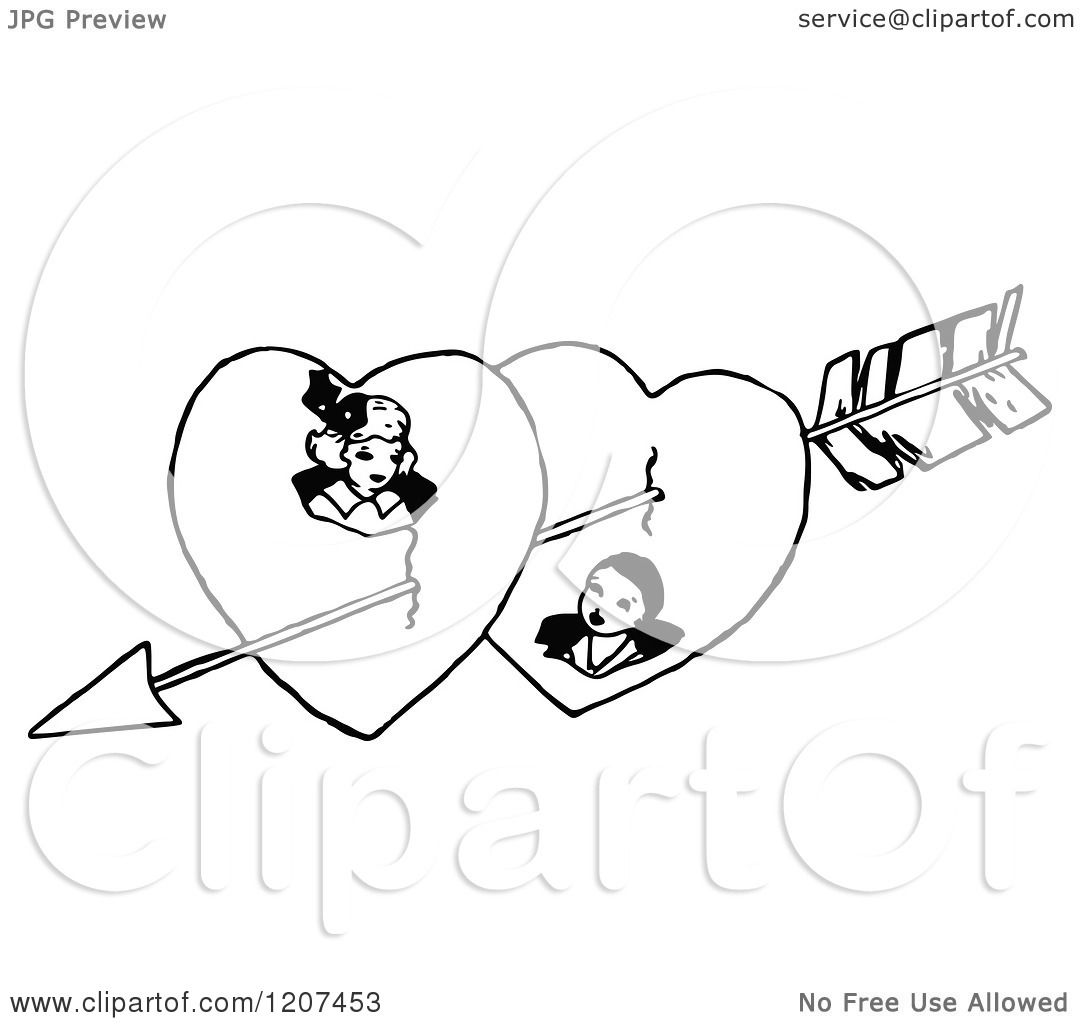 1080x1024 Clipart Of A Vintage Black And White Cupids Arrow Through A Couple