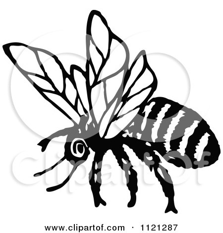 450x470 Clipart Of A Retro Vintage Black And White Flying Bee 1