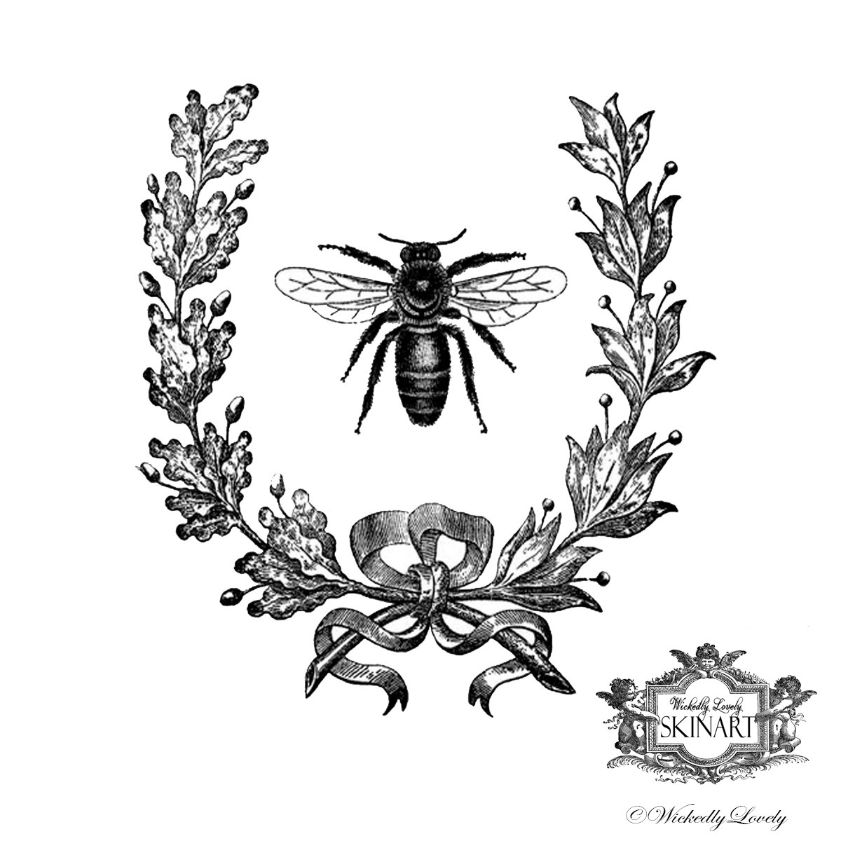 1200x1200 Vintage French Bee Temporary Tattoo Vintage Bee Bee