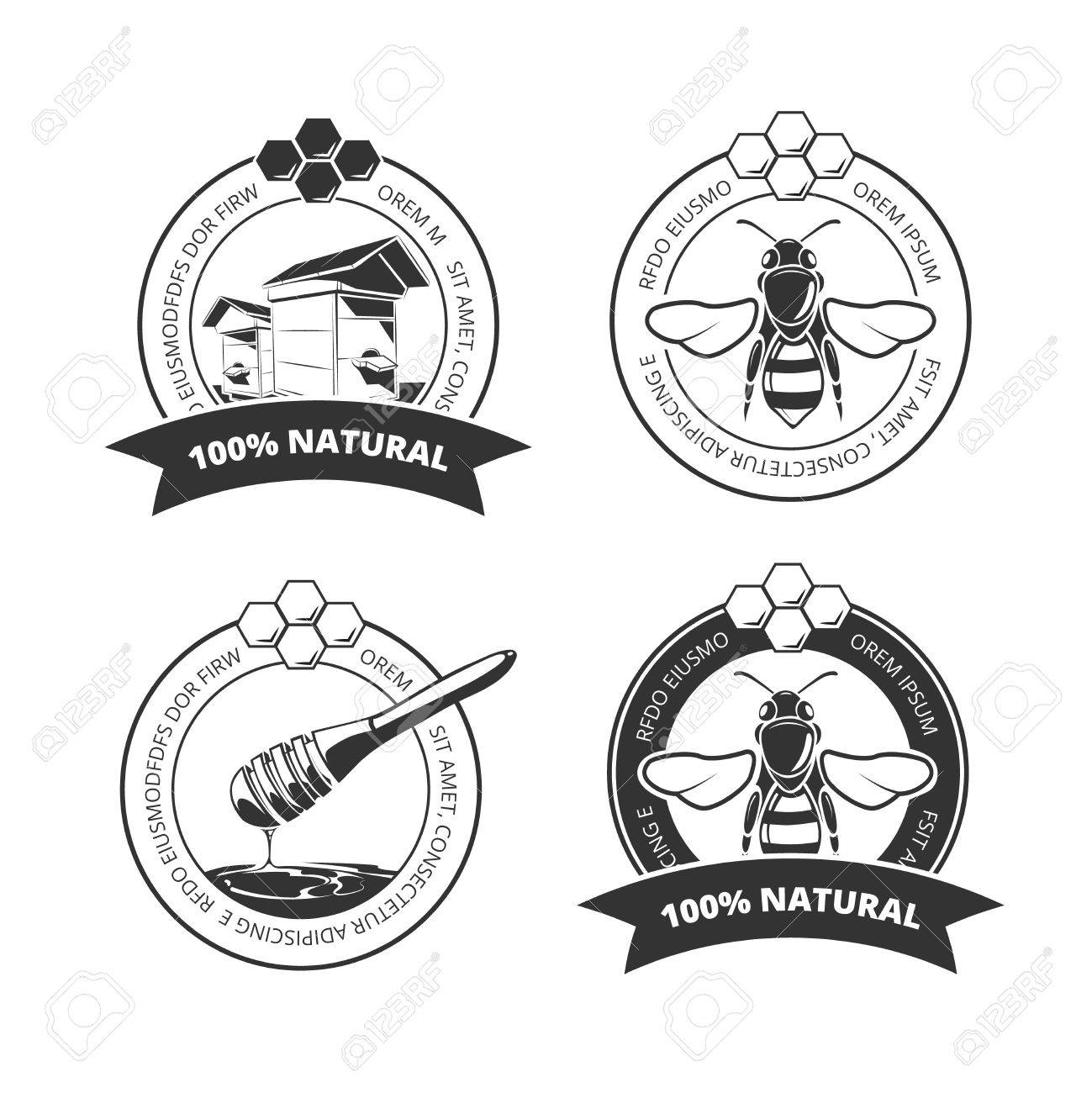 1299x1300 Vintage Honey And Bee Vector Labels, Badges, Emblems, Logos Set