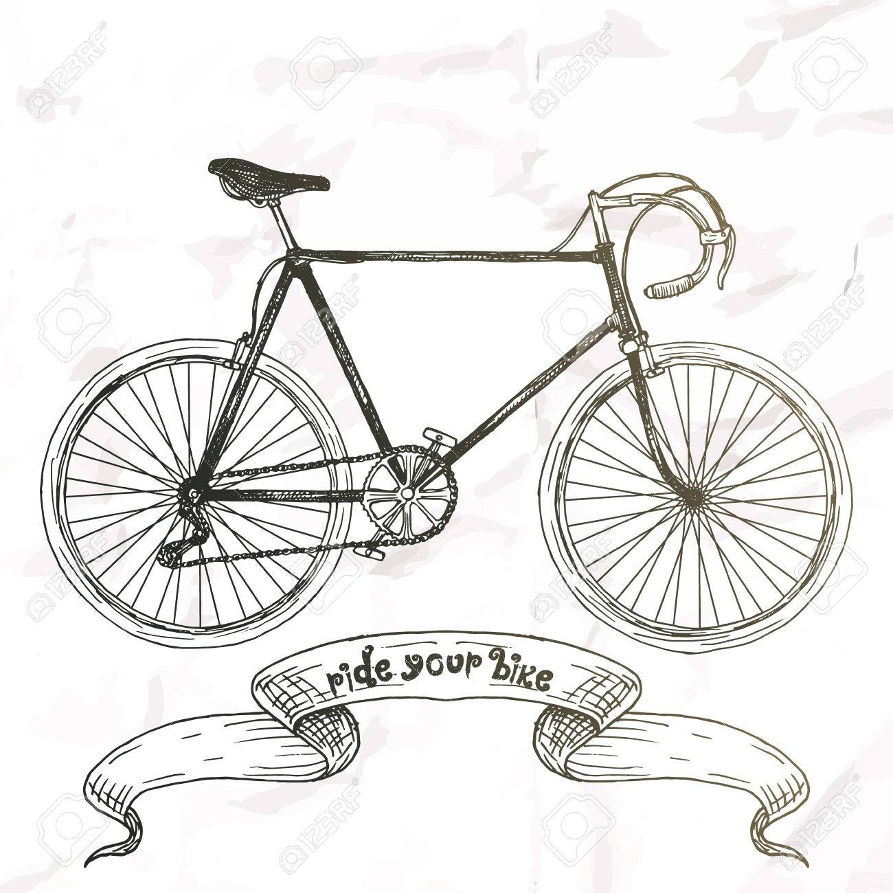 1300x1300 Ride Your Bike Picture. Hand Drawn Vintage. Royalty Free Cliparts