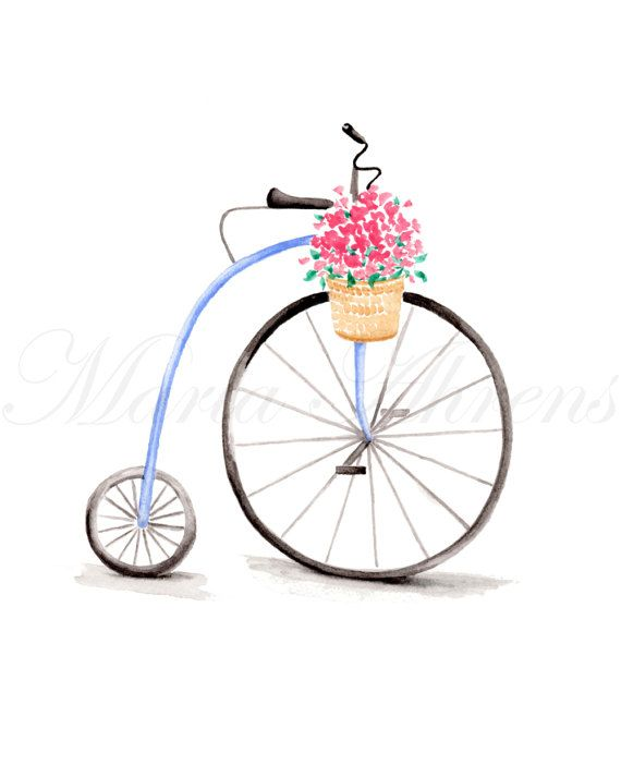 570x713 Vintage Bicycle Art Print, Watercolor Print, Giclee Print, Spring