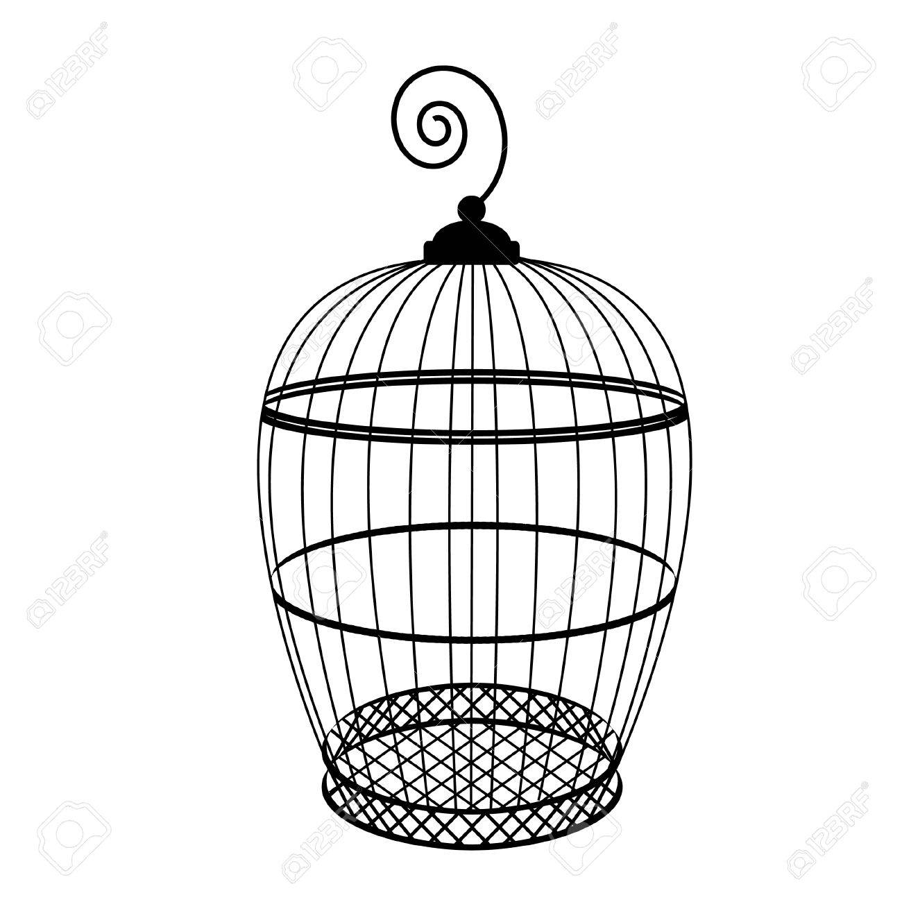 1300x1300 Birdcage Vector Isolated, Bird Cage Silhouette, Vintage Birdcage
