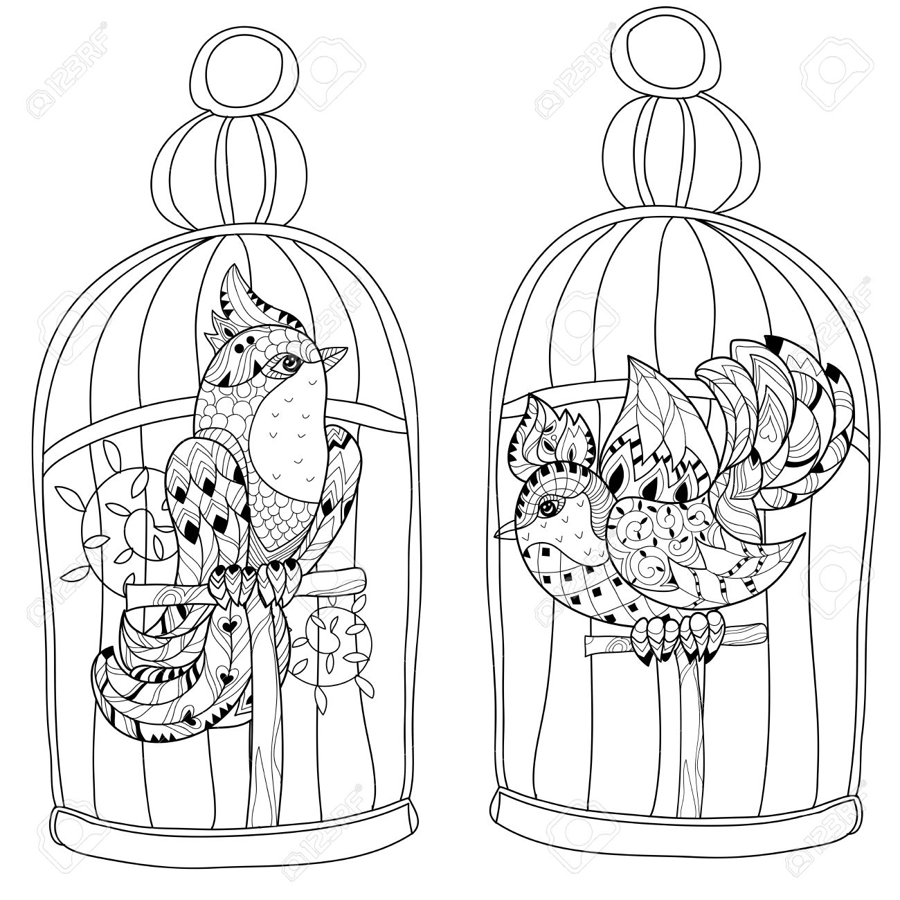 1300x1300 Stylized Bird In Cage. Hand Drawn Vector Illustration. Sketch