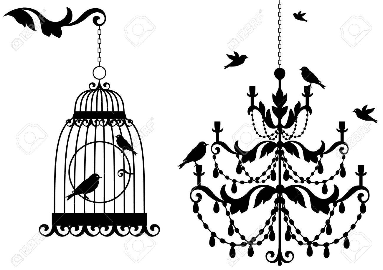 1300x918 Vintage Birdcage And Crystal Chandalier With Birds, Background