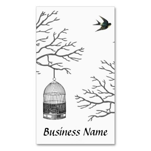 512x512 Vintage Birdcage Bare Branch Swallow Business Card Nature Style