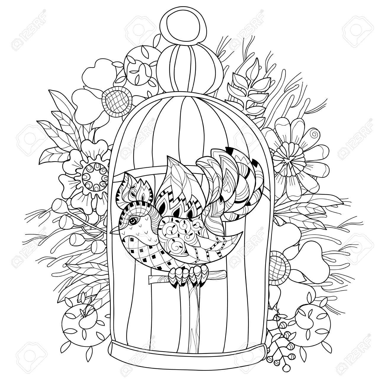 1300x1300 Zentangle Stylized Bird In Cage. Hand Drawn Vector Illustration