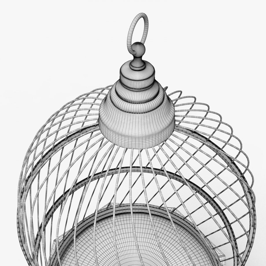 920x920 Antique Birdcage 3d Model