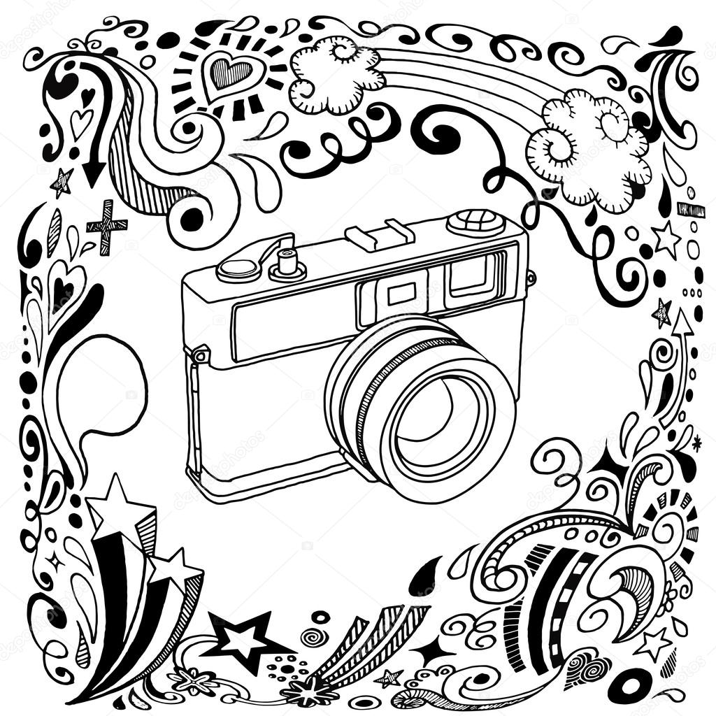 1024x1024 Hand Drawing Vintage Camera With Ornamental Stock Vector