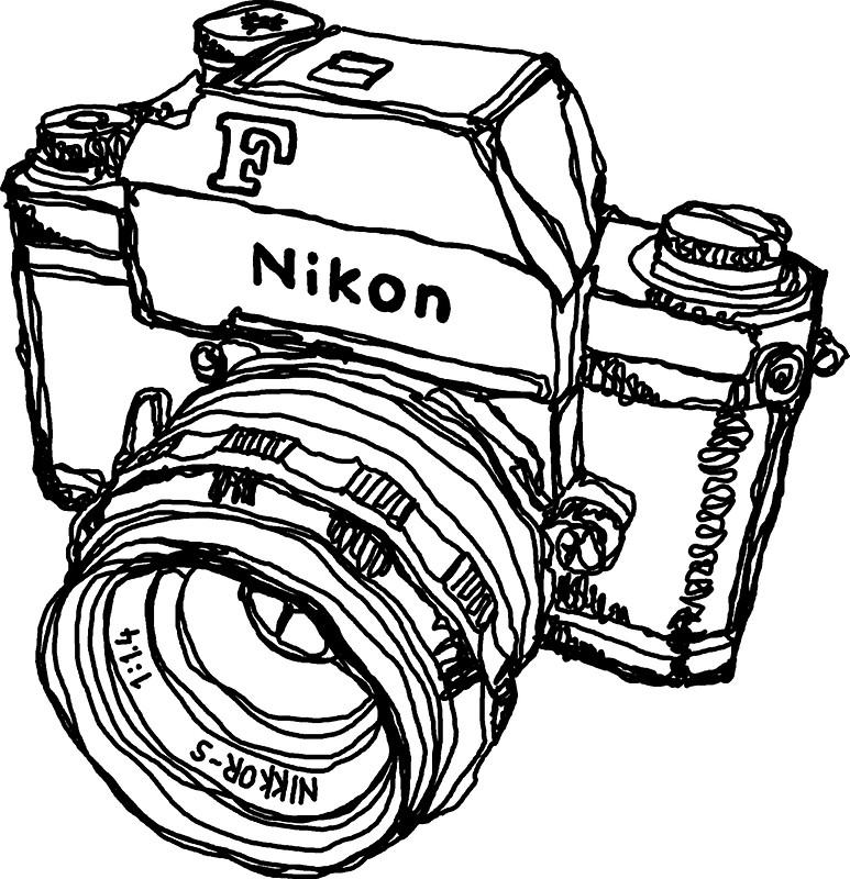 773x800 Nikon F Classic Film Camera Illustration Stickers By Strayfoto