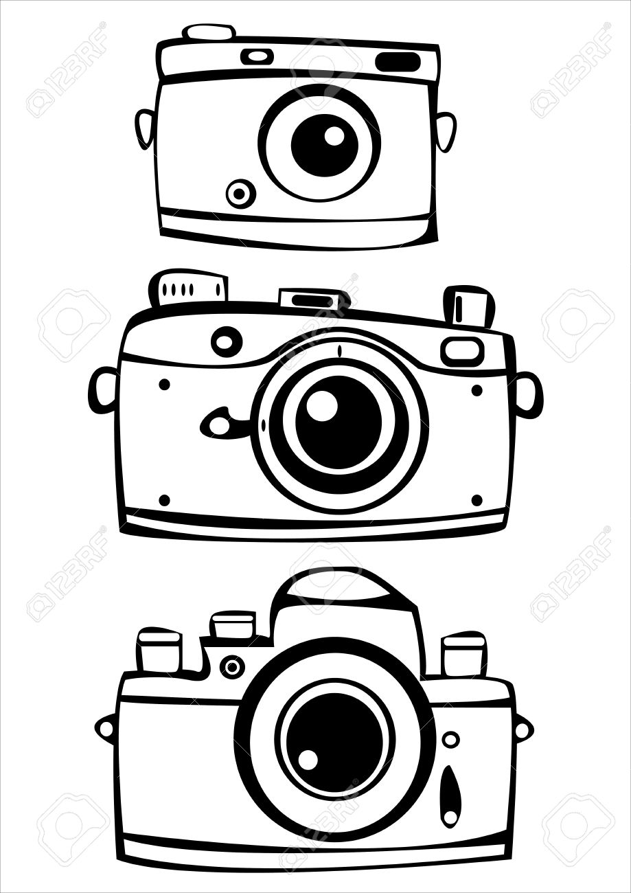 919x1300 Vector Set Of Three Vintage Film Photo Cameras Isolated On White
