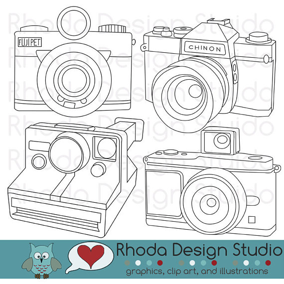 570x570 Vintage Cameras Digital Clip Art Retro Camera Photography