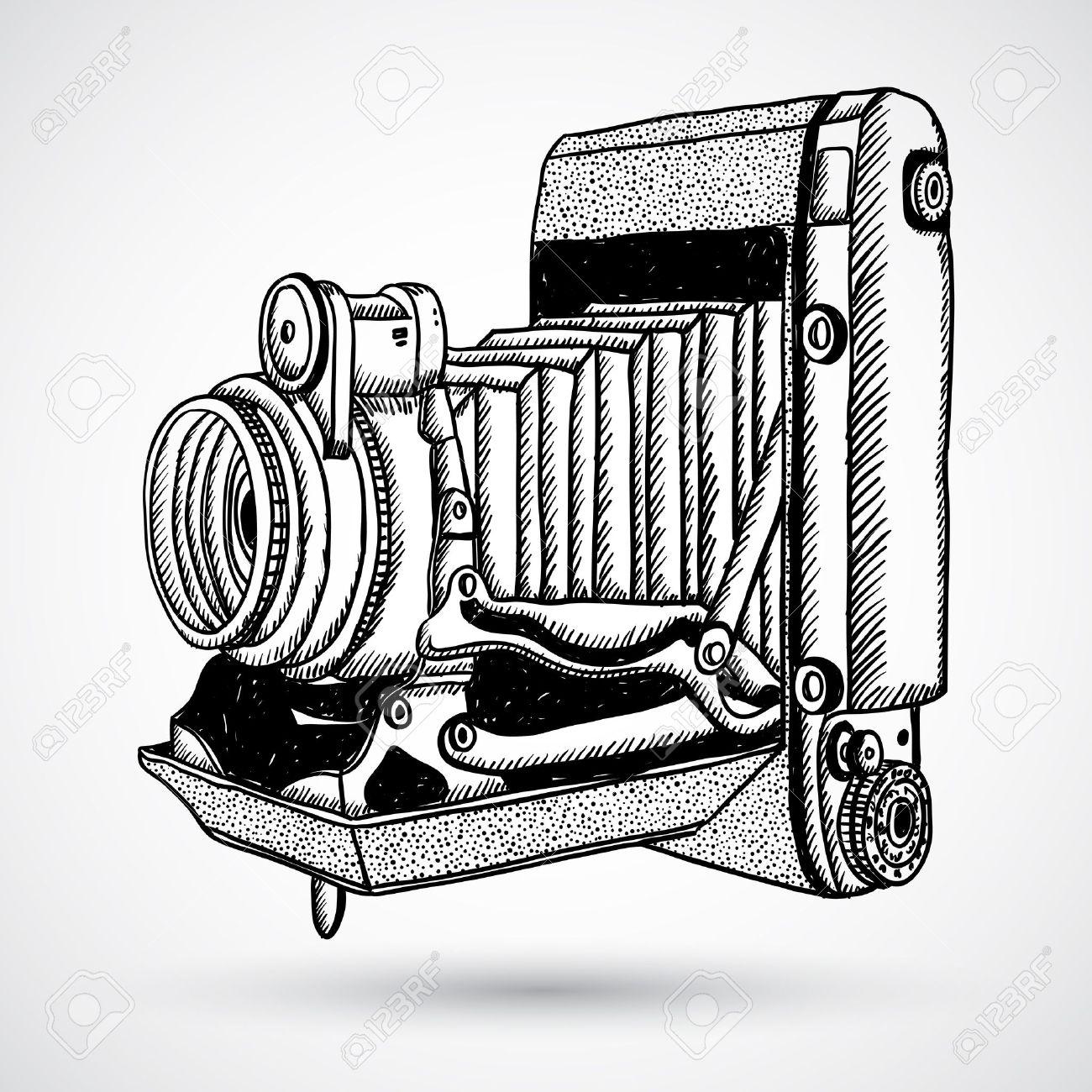1300x1300 Vintage Doodle Camera, Hand Drawn Royalty Free Cliparts, Vectors