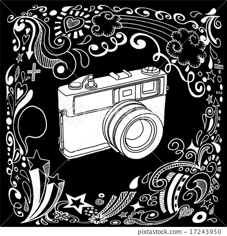 450x468 Hand Drawing Vintage Camera With Ornamental