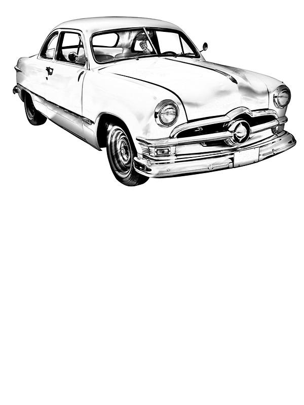 Vintage Car Line Drawing