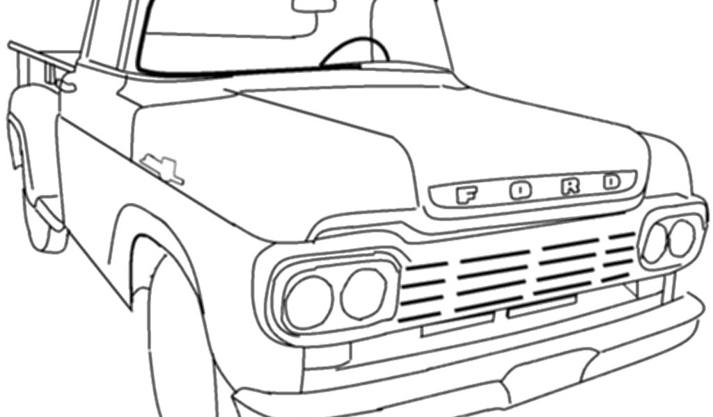 1024x600 Classic Car Coloring Pages