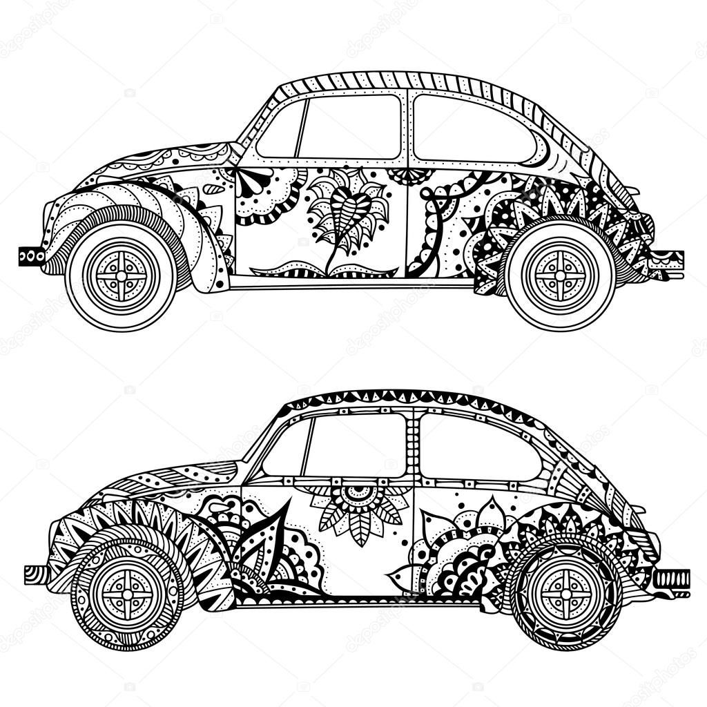 1024x1024 Vintage Car In Tangle Patterns Style Stock Vector Frescomovie