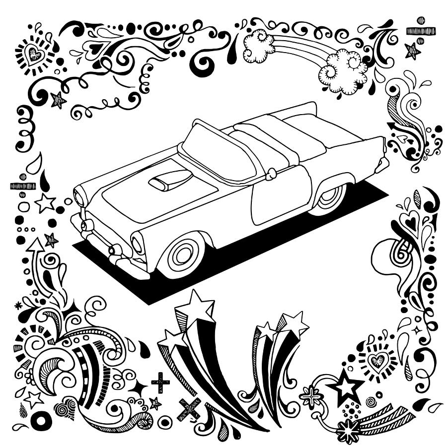 900x899 Hand Drawing Vintage Car With Ornamental Digital Art By Pakpong