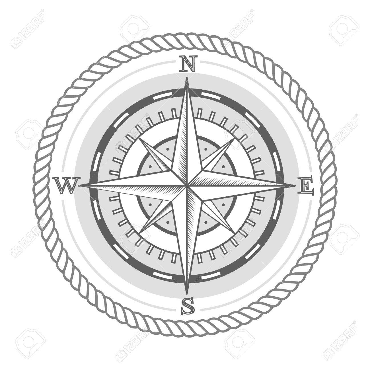 1300x1300 Nautical Label Vintage Compass Icon And Design Element Royalty