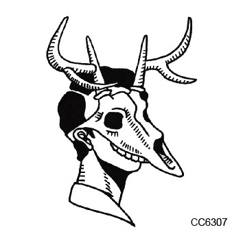 354x354 Old School Style Black Masked Skull Deer Head Woman Vintage