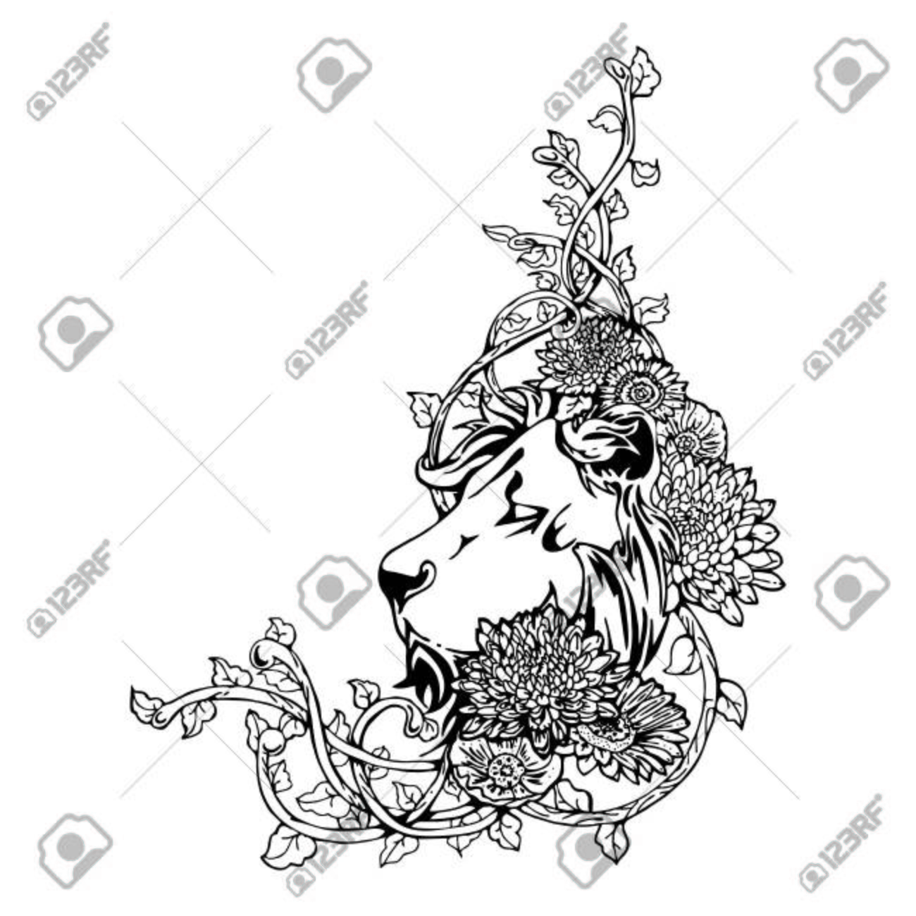 1300x1300 King Lion Head Vintage Drawing Tattoo With White Isolated Vector
