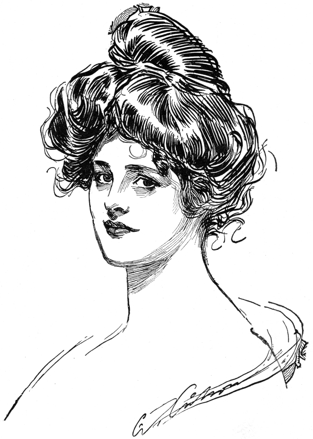 1070x1500 Lovely Vintage Gibson Girl Drawing!