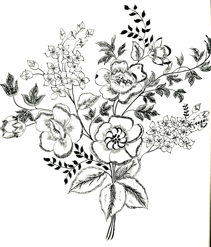 877x1024 Vintage Flower Drawing Old Fashioned Flower Drawings