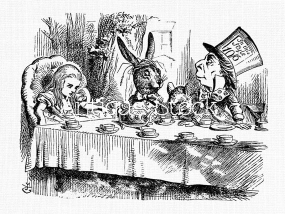 570x428 Alice In Wonderland Old Image Tea Party Drawing