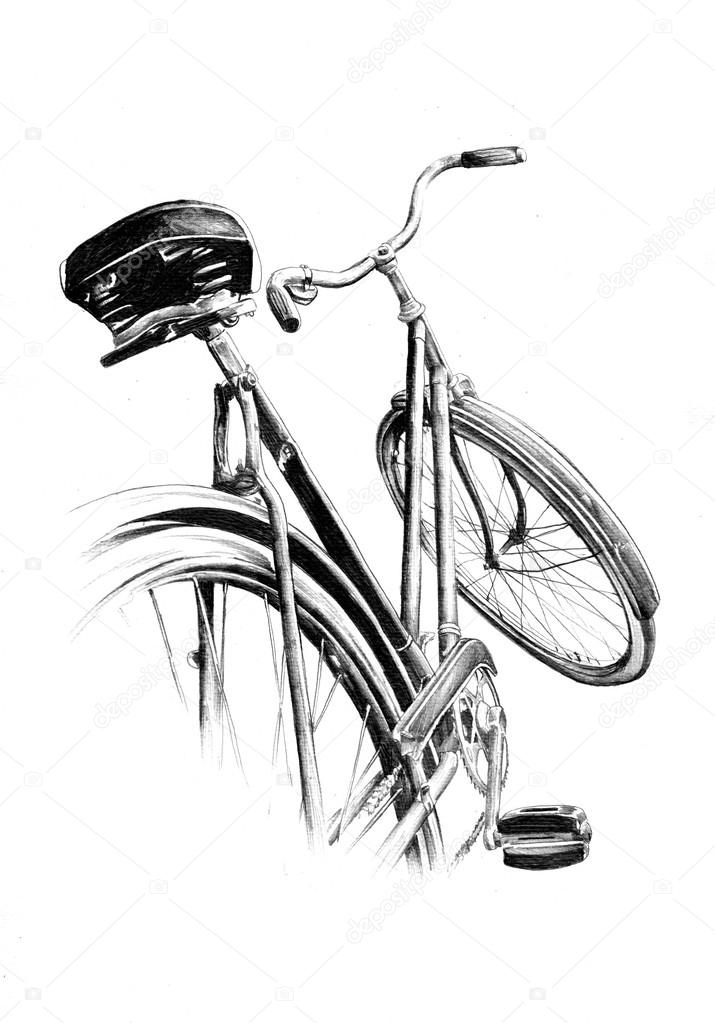 715x1023 Bicycle Retro Old Vintage Drawing Art Stock Photo Maxtor7777