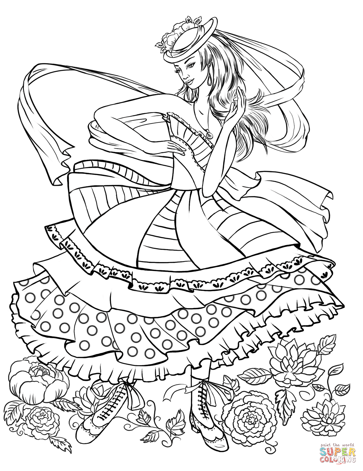 1159x1500 Girl Dancing In A Vintage Fashion Clothing Coloring Page Free