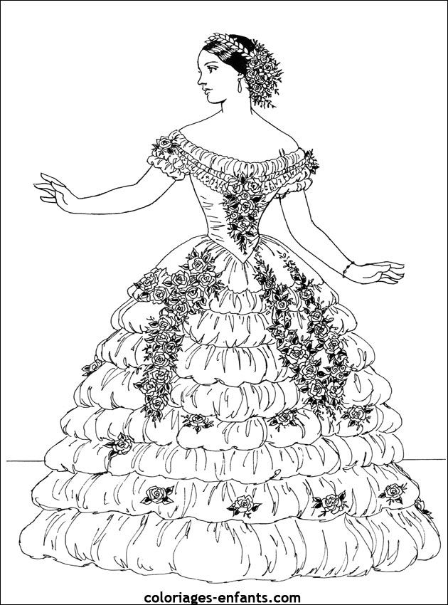 630x850 Vintage Fashion Coloring Page For Adults