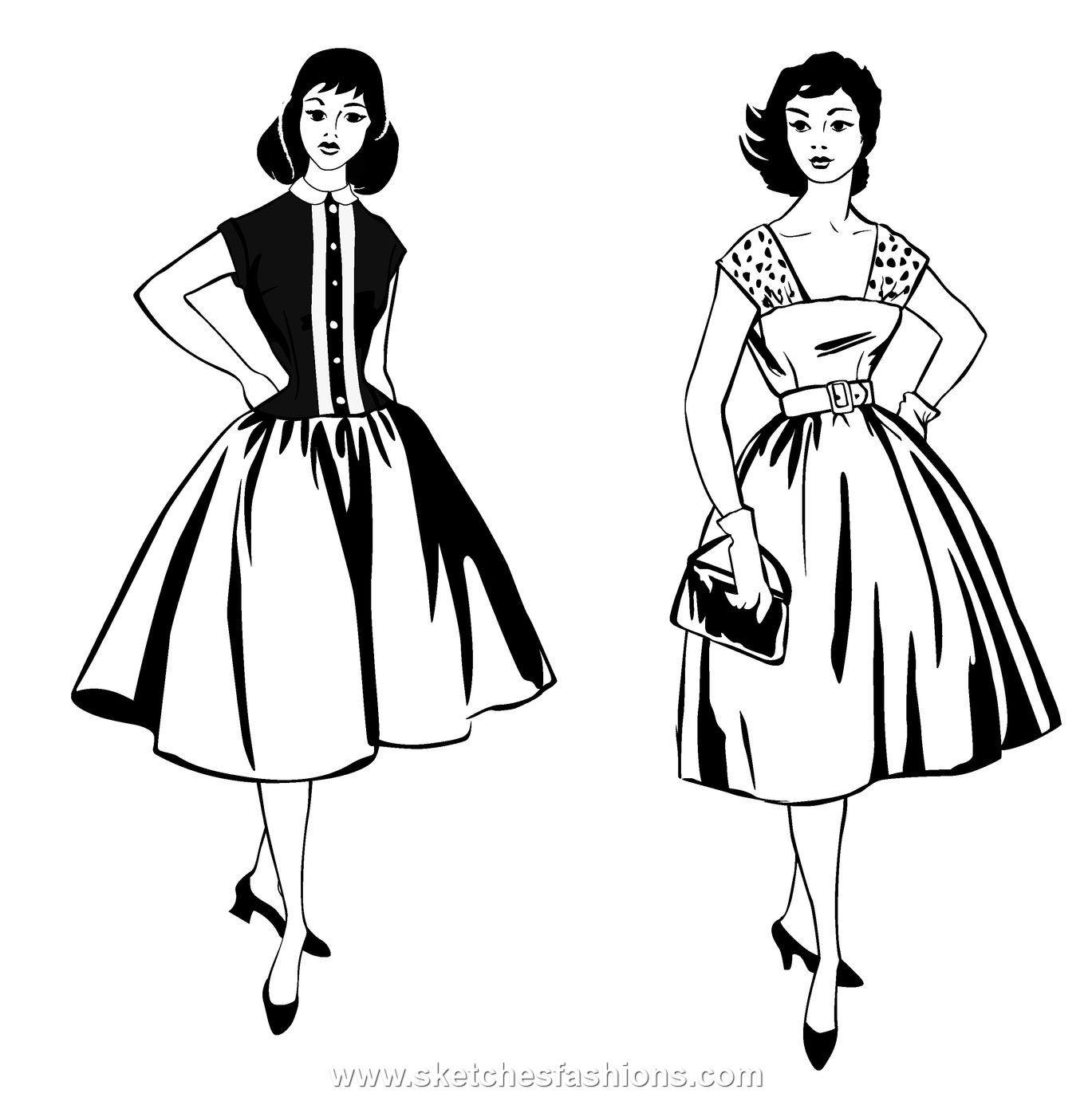1369x1371 Vintage Dress Drawings
