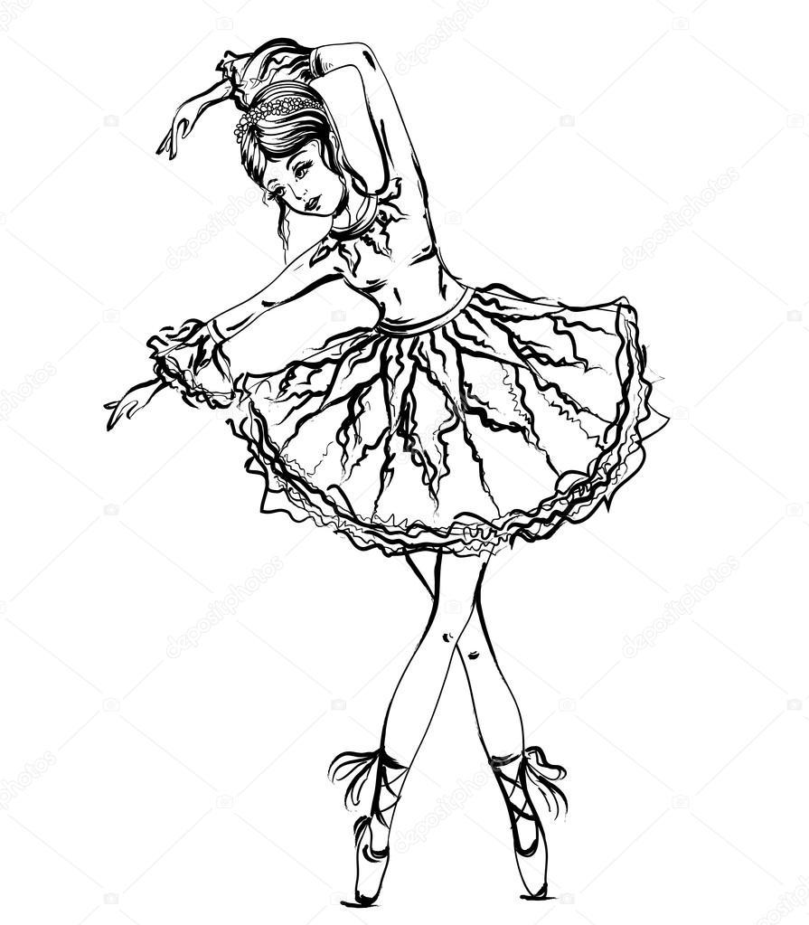 895x1023 Ballerina. Vintage Black And White Hand Drawn Vector Illustration