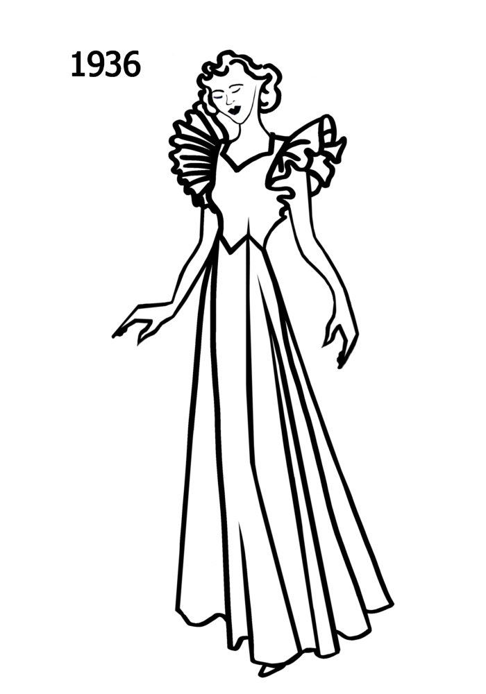 700x1000 Costume History Silhouettes 1936 1937 Free Line Drawings