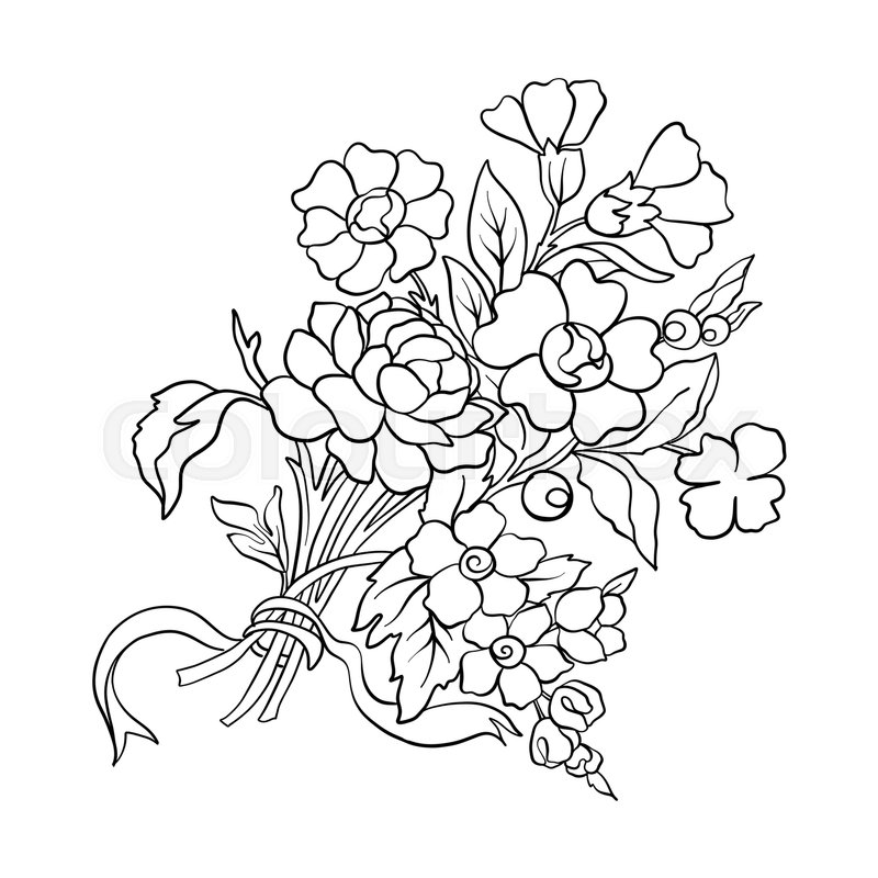 800x800 Outline Vintage Flowers Bouquet Or Pattern In Rococo, Victorian