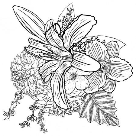 450x450 Vintage Garden Drawing Spring Bouquet Stock Photo Goldenshrimp