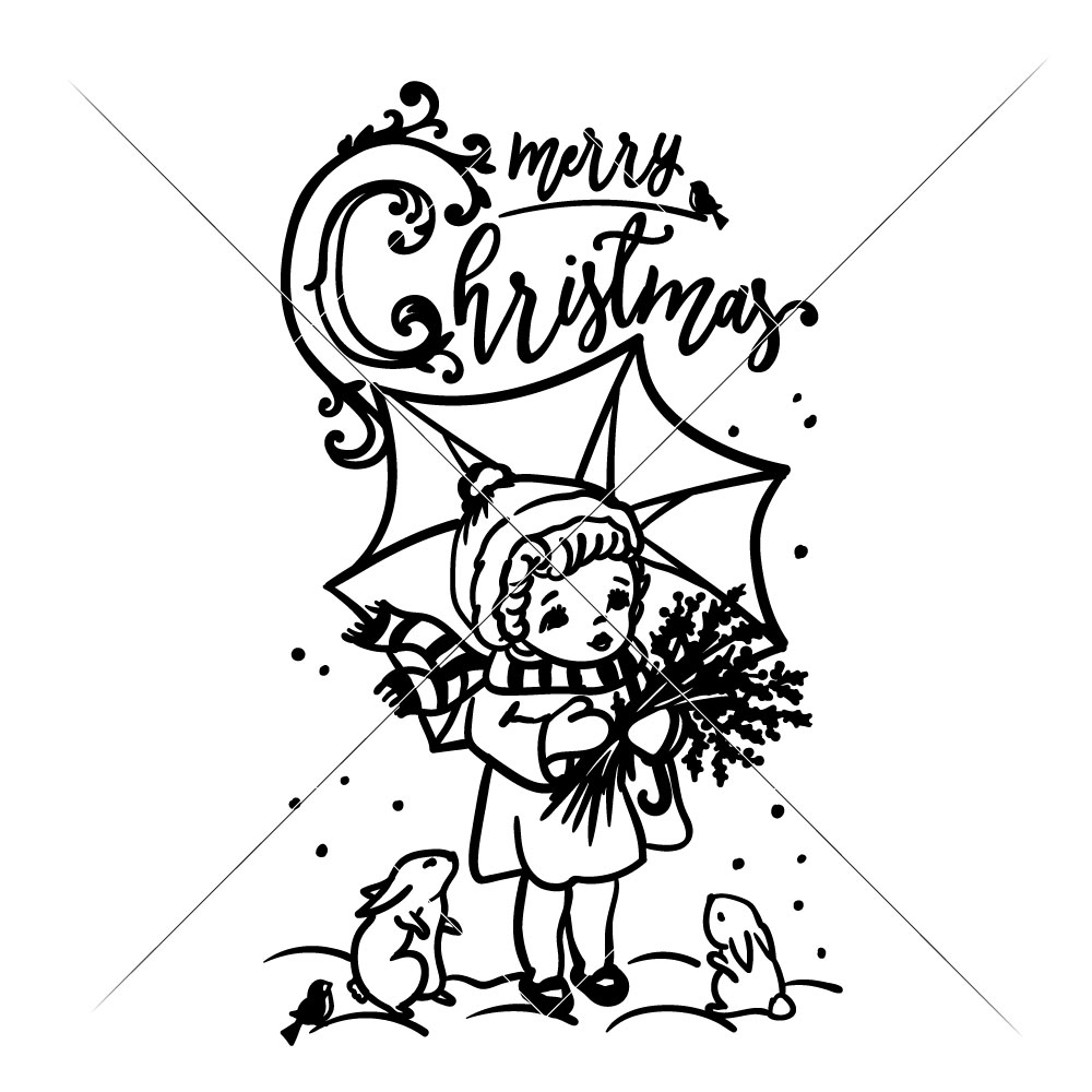 1000x1000 Merry Christmas Vintage Girl With Umbrella
