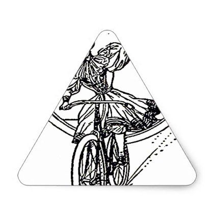 422x422 Vintage Illustration Girl On Bicycle Triangle Sticker