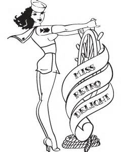 239x299 Vintage Pin Up Girl Coloring Pages