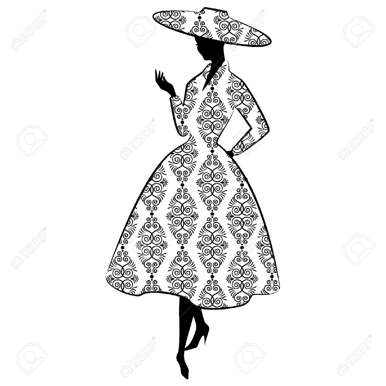 1300x1300 Vintage Silhouette Of Girl In Hat Royalty Free Cliparts, Vectors