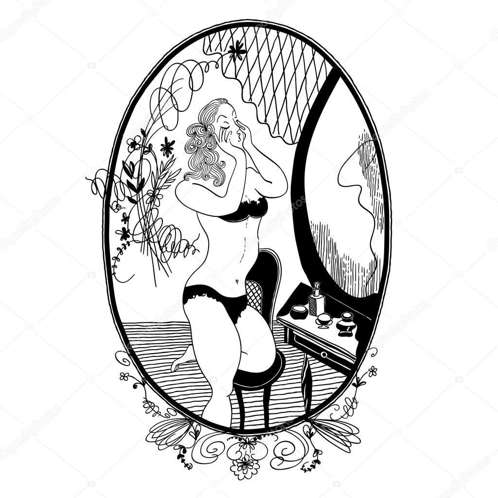 1024x1024 Vintage Girl Vintage Girl Looks In The Mirror. Vector. Set Of Il