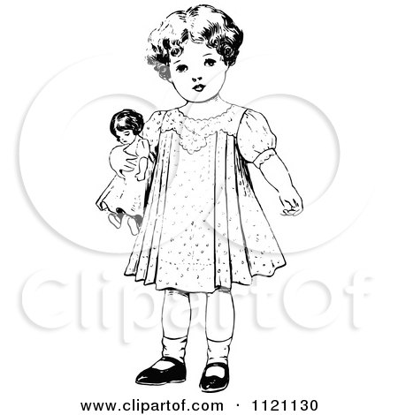450x470 Clipart Of Retro Vintage Blacknd White Girl Standing