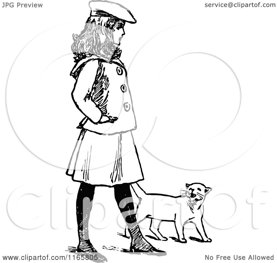 1080x1024 Clipart Of A Retro Vintage Black And White Girl Walking With A Cat