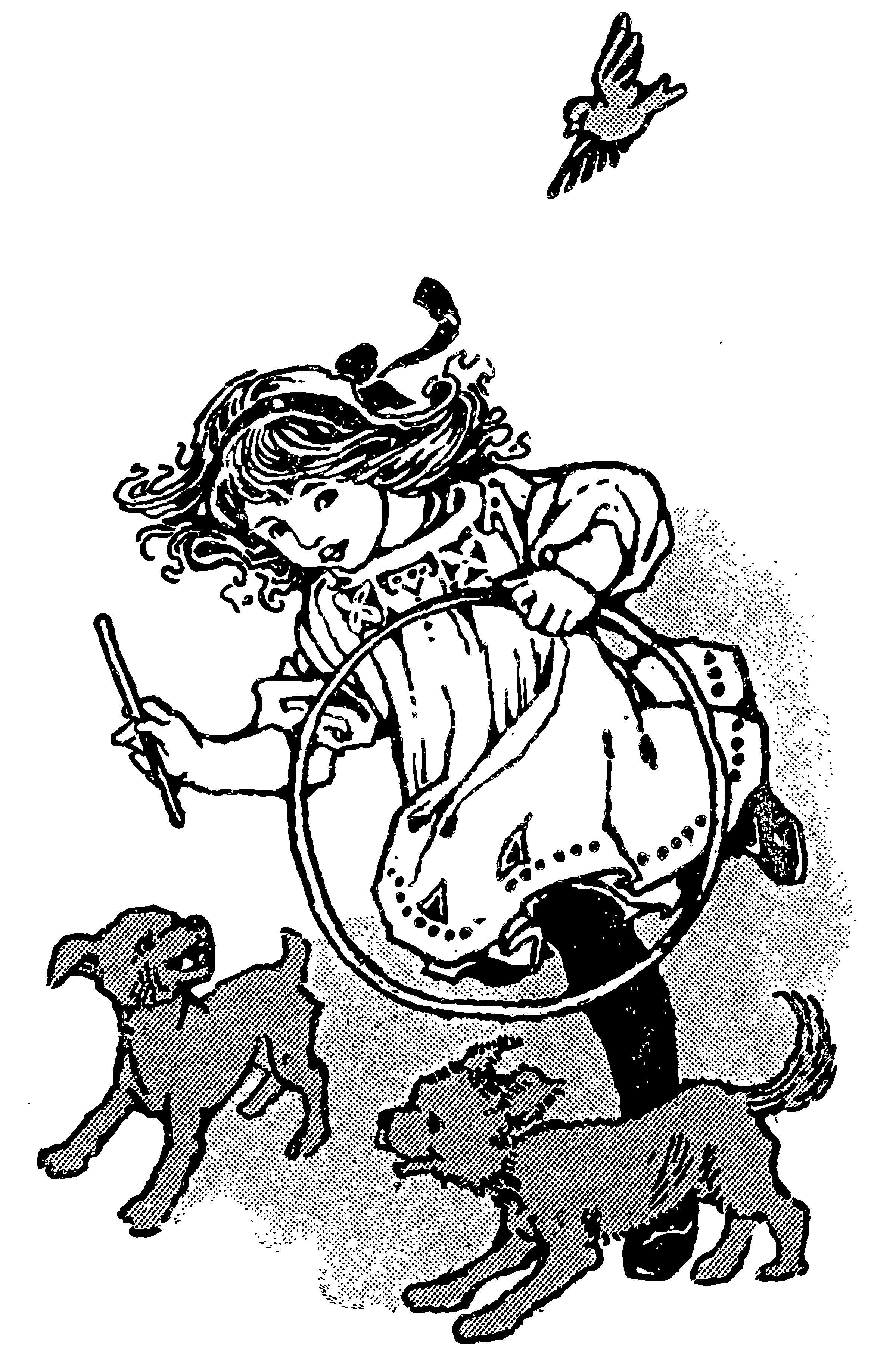 2400x3667 Vintage Girl Playing With Puppies