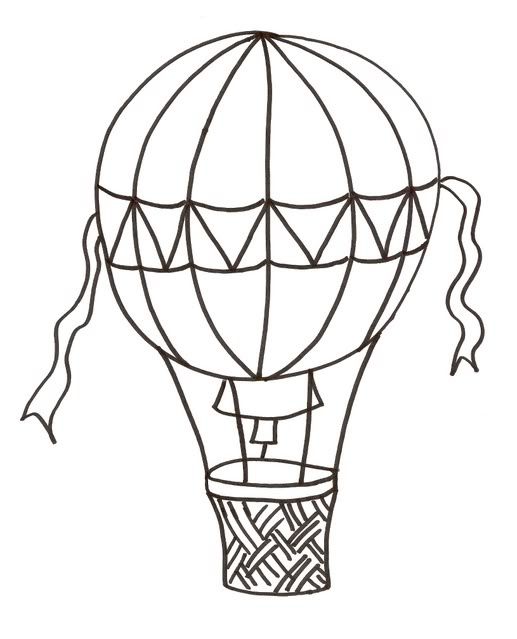 Vintage Hot Air Balloon Drawing
