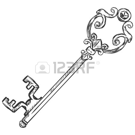 450x450 Set Of Outline Vintage Skeleton Keys Isolated On White Royalty