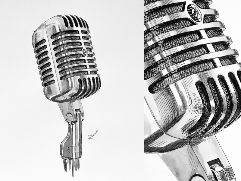 Line Art Microphone : Vintage microphone drawing at getdrawings free for