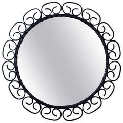 240x240 Vintage Round Wall Mirror Forged Wrought Iron Decoration For Sale