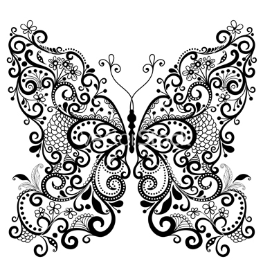 380x400 Fantasy Lacy Vintage Butterfly Vector Do You Like To Color